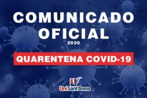 UniSant'Anna prorroga suspensão das Aulas e Atividades Presenciais, até 06 de abril