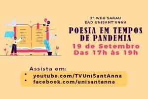 """Sábado tem: II WEB SARAU EAD """"POESIA EM TEMPOS DE PANDEMIA"""""""