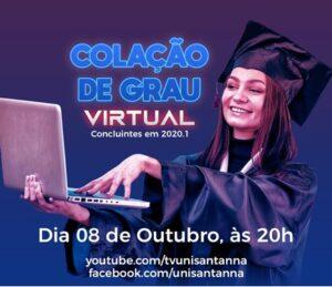 Colação de Grau Virtual: 08 de outubro, às 20h